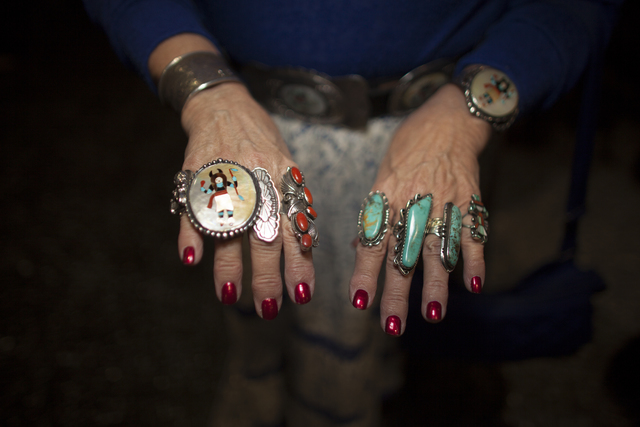Sandy Bush shows off her rings at the National Finals Rodeo at Thomas & Mack Center on Sund ...