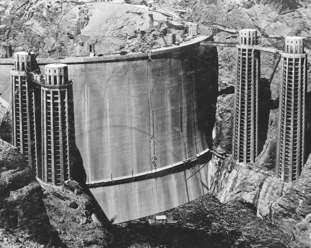 A photo taken May 22, 1935, shows the upstream side of Hoover Dam as it looked about four months before President Franklin Roosevelt dedicated the structure and seven months before Patrick William ...