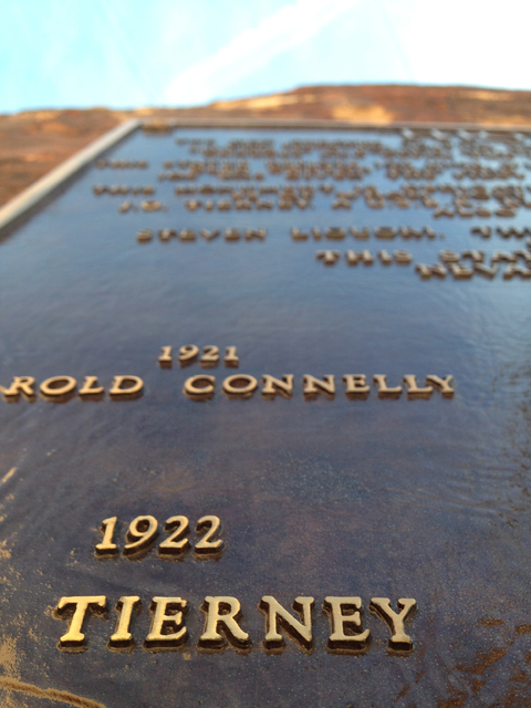 "The Tierney name appears on the ""High Scaler"" plaque for fallen construction workers at Hoover Dam in this photo from Dec. 13. Henry Brean/Las Vegas Review-Journal"
