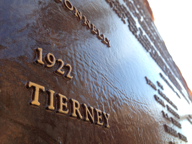 """The Tierney name appears on the """"High Scaler"""" plaque for fallen construction workers at Hoover Dam in this photo from Dec. 13. Henry Brean/Las Vegas Review-Journal"""