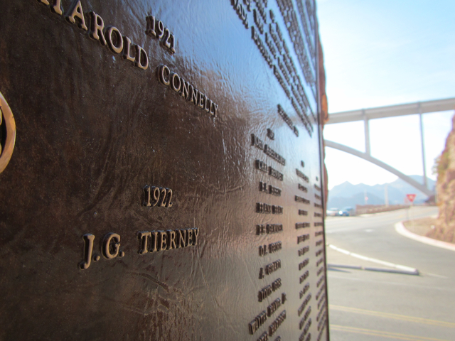 """J.G. Tierney's name appears on the """"High Scaler"""" plaque for fallen construction workers at Hoover Dam, though the year of his death is wrong. Tierney actually drowned in the Colorado River while s ..."""