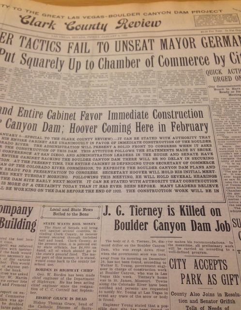 A story about the death of J.G. Tierney appears on the front page of the Clark County Review newspaper on Jan. 6, 1922. Tierney drowned in the Colorado River on Dec. 20, 1921 while surveying possi ...