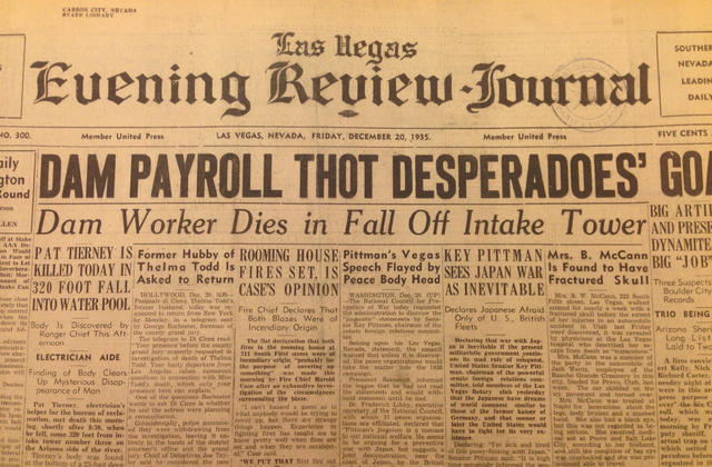 The Dec. 20, 1935, edition of the Las Vegas Evening Review-Journal reports on the death earlier that day of Hoover Dam construction worker Patrick Tierney. The newspaper is now part of the archive ...