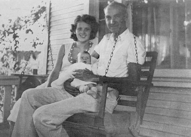 Patrick William Tierney and his wife, Hazel, show off their newborn son, Patrick Gregory, in an undated photo from 1932. (Boulder City/Hoover Dam Museum)