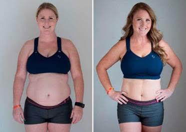 Mindy Bean, 34, of Summerlin is seen at the beginning of Life Time's 60-Day Challenge, left, and at the end. She lost nearly 40 pounds. (SPECIAL TO VIEW)