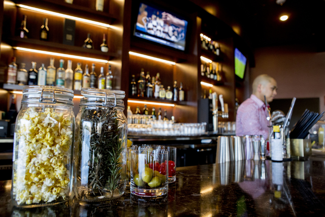 Albert Tejada, bar tender, sets the bar in the newly opened Eclipse Theaters that has a full bar, craft cocktails and intimate theatre sizes of about 40, 814 S. Third Street, Downtown Las Vegas, W ...
