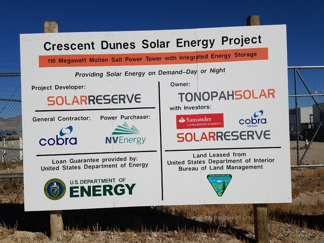 The sign outside SolarReserve's Crescent Dunes solar plant outside Tonopah as shown in this Oct. 11 photo. The solar plant is described as a forerunner for the growing renewable energy industry. D ...