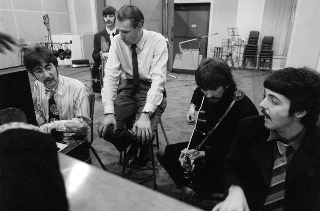 "From left, John Lennon, Ringo Starr (in back), producer George Martin, George Harrison and Paul McCartney work on a Beatles album in the new documentary ""Soundbreaking,"" now on Blu-ray and DVD."
