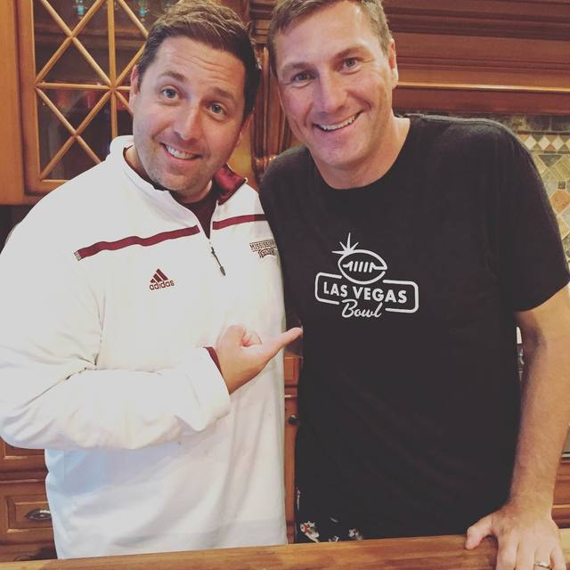 Las Vegas Bowl director John Saccenti, left, Mississippi State coach Dan Mullen could be reunited in upcoming bowl game at Sam Boyd Stadium, which would make many Bulldogs fans happy (Courtesy Joh ...