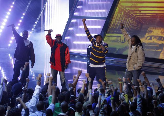 Members of A Tribe Called Quest — Consequence, left, Phife Dawg, Q-Tip and Jarobi White — perform at the 4th Annual VH1 Hip Hop Honors event in New York, Oct. 4, 2007. Phife Dawghas died at th ...