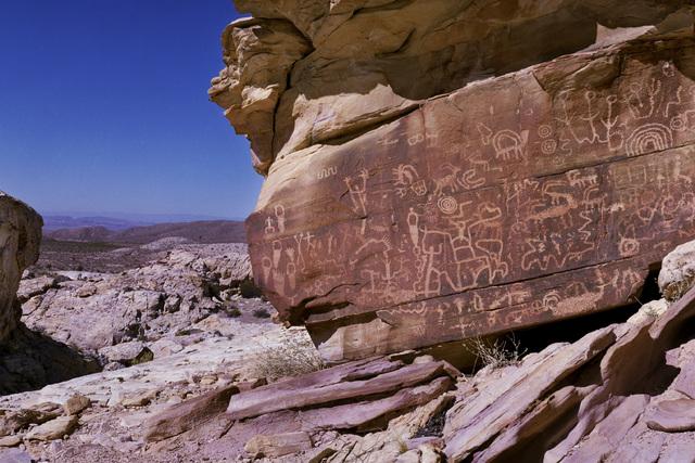 """Newspaper Rock"" is seen in the Falling Man petroglyph area in the Gold Butte region Saturday, Oct. 15, 2016, northeast of Las Vegas. (Sam Morris/Las Vegas News Bureau)"