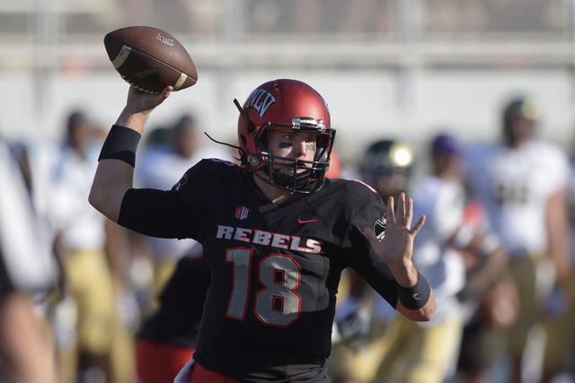 UNLV quarterback Dalton Sneed throws against Colorado State during their Mountain West Conference game Saturday, Oct. 22, 2016 at Sam Boyd Stadium. (Sam Morris/Las Vegas News Bureau)