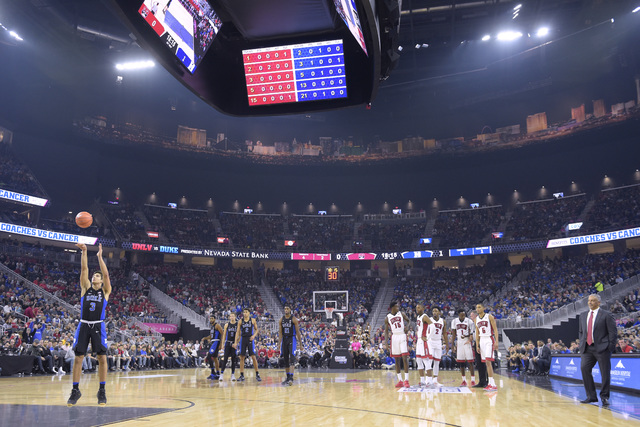 Duke guard Grayson Allen shoots a free throw after a UNLV technical foul during their NCAA basketball game Saturday, Dec. 10, 2016, at the T-Mobile Arena in Las Vegas. Duke won 94-45. (Sam Morris/ ...