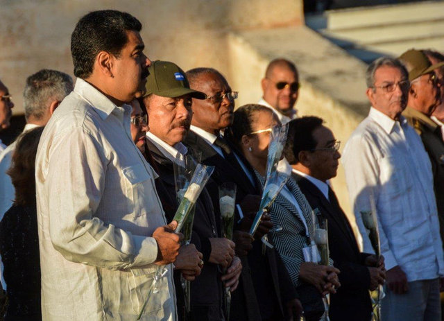 Venezuela's President Nicolas Maduro (L) and his Nicaraguan counterpart Daniel Ortega (3rd L) attend a private ceremony where the ashes of Cuba's former President Fidel Castro were laid to rest at ...