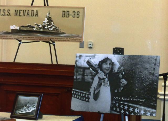 In this July 11, 1914 handout photo, Eleanor Anne Siebert, the ten-year-old niece of Governor Tasker L Oddie, christens the battleship U.S.S. Nevada in Charlestown, Mass. (Nevada State Museum)