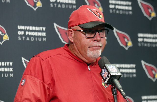 In this Sunday, Nov. 20, 2016, file photo, Arizona Cardinals head coach Bruce Arians speaks during a news conference after a 30-24 loss to the Minnesota Vikings in an NFL football game, in Minneap ...