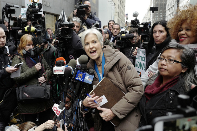 Jill Stein, the presidential Green Party candidate, speaks at a news conference in front of Trump Tower, Monday, Dec. 5, 2016, in New York. Stein is spearheading recount efforts in Pennsylvania, M ...