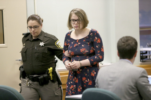 Morgan Geyser is led into the courtroom Monday, Dec.12, 2016, for a hearing on motions in the so called Slenderman stabbing case at Waukesha County Courthouse in front of Judge Michael Bohren, in  ...