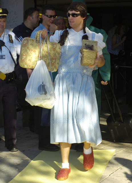 """In this Sept. 24, 2007, file photo, New York Yankees' Ian Kennedy is dressed as Dorothy from """"The Wizard of Oz"""" as he leaves the stadium after a baseball game against the Toronto Blue Jays, at Yan ..."""