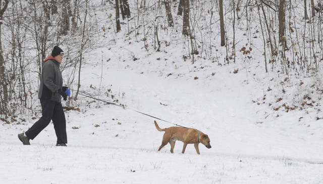 Sam Petty walks Blue on a trail at Hawthorn Park near Terre Haute Ind., Tuesday, Dec. 13, 2016. The two take walks year round with two miles being the usual distance. (Jim Avelis/The Tribune-Star  ...