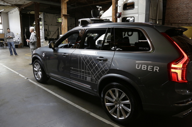 In this photo taken Tuesday, Dec. 13, 2016, an Uber driverless car is displayed in a garage in San Francisco. (Eric Risberg/AP)