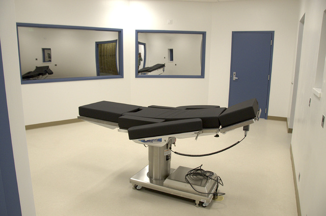 This Nov. 10, 2016 photo released by the Nevada Department of Corrections shows the newly completed execution chamber at Ely State Prison in Ely, Nev. Nevada hasn't carried out an execution since  ...