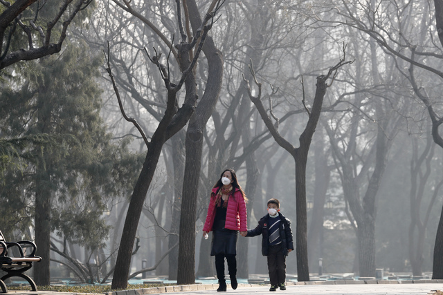 A woman and a child wearing masks for protection against pollution walk past trees shrouded by smog at Ritan Park in Beijing, Monday, Dec. 19, 2016. Chinese cities are limiting the number of cars  ...