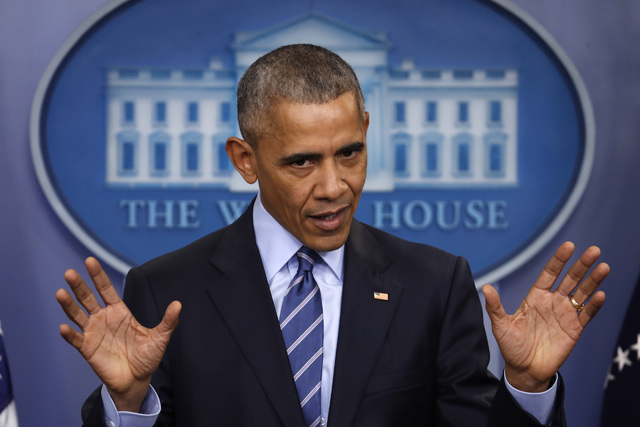 In this Friday, Dec. 16, 2016, photo, President Barack Obama speaks during a news conference in the briefing room of the White House in Washington. Obama said one of his missions after leaving off ...