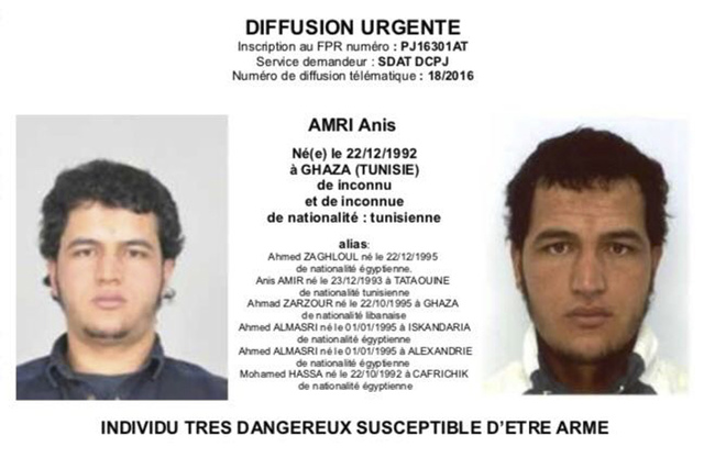 The photo which was sent to European police authorities and obtained by AP on Wednesday, Dec. 21, 2016 shows Tunisian national Anis Amri who is wanted by German police for an alleged involvement i ...