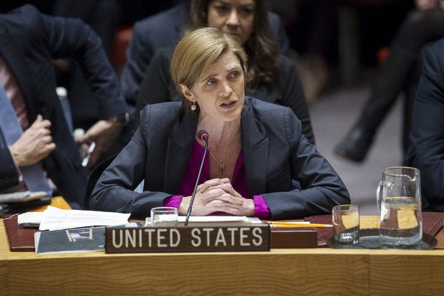 In this photo provided by the United Nations, Samantha Power, U.S. Ambassador to the United Nations, addresses the United Nations Security Council, after the council voted on condemning Israel's s ...