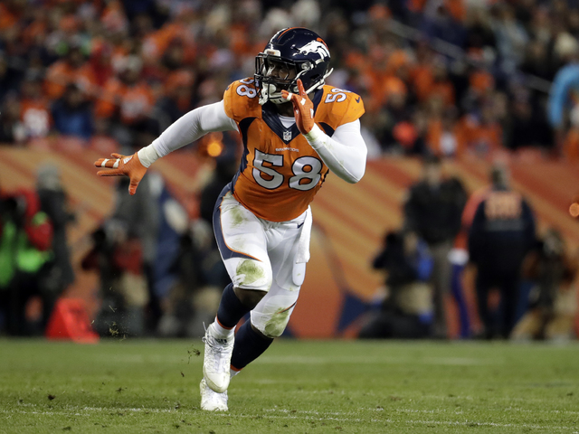 FILE - In this Nov. 27, 2016 file photo, Denver Broncos outside linebacker Von Miller plays against the Kansas City Chiefs during an NFL football game, in Denver. The Chiefs could have their playo ...