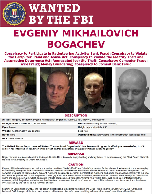 This image provided by the FBI shows the wanted poster for Evgeniy Bogachev. In a sweeping response to election hacking, President Barack Obama sanctioned Russian intelligence services and their t ...