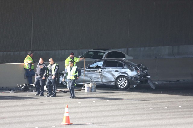 The Nevada Highway Patrol is investigating a crash on U.S. Highway 95 near Decatur Boulevard Tuesday morning, Dec. 13, 2016. (Bizuayehu Tesfaye/Las Vegas Review-Journal) @bizutesfaye