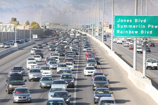 Traffic on southbound U.S. Highway 95 is backed up as the Nevada Highway Patrol investigates a crash near Decatur Boulevard, Tuesday morning, Dec. 13, 2016. (Bizuayehu Tesfaye/Las Vegas Review-Jou ...