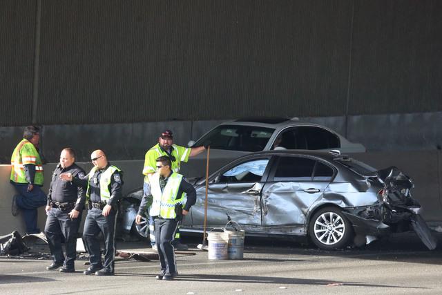 The Nevada Highway Patrol is investigating a crash on U.S. Highway 95 near Decatur Boulevard, Tuesday morning, Dec. 13, 2016. (Bizuayehu Tesfaye/Las Vegas Review-Journal) @bizutesfaye