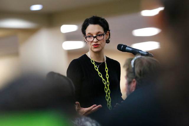 Katie Duffy, CEO of Democracy Prep Public Schools, speaks during a Andre Agassi College Preparatory Academy Governing Board meeting at the academy in Las Vegas, Tuesday, Dec. 13, 2016. (Chitose Su ...