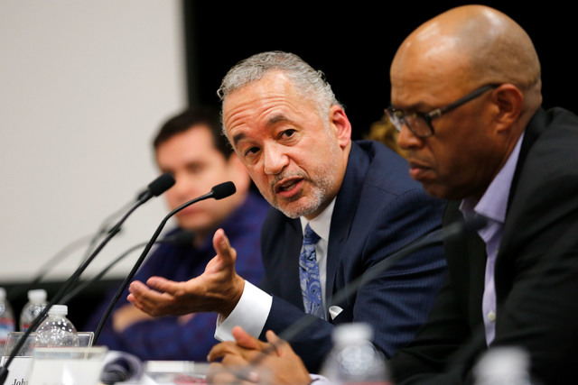 John Bailey, Andre Agassi College Preparatory Academy Governing Board member, center, speaks during a meeting at the academy in Las Vegas, Tuesday, Dec. 13, 2016 as another member Curtis Myles, ri ...