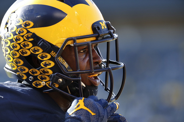 In this Nov. 5, 2016, file photo, Michigan Wolverines linebacker Jabrill Peppers (5) watches during an NCAA college football game against Maryland, in Ann Arbor, Mich. (Paul Sancya, File/AP)