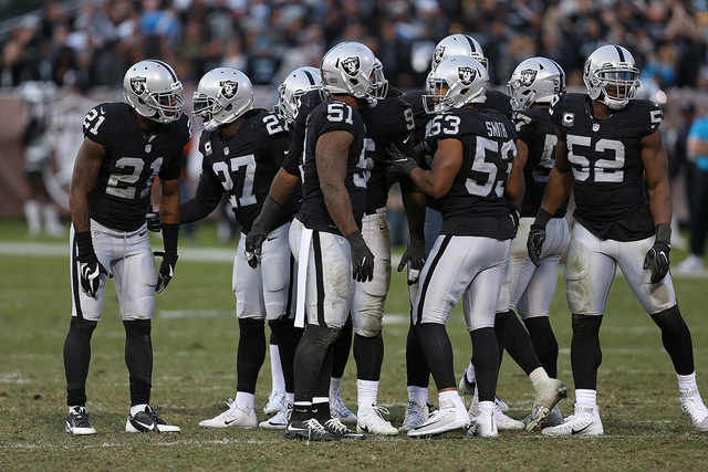 City and county officials are expected to vote Tuesday on a deal for a new $1.3 billion stadium that supporters hope will keep the Raiders in Oakland. (Daniel Gluskoter/AP Images for Panini)