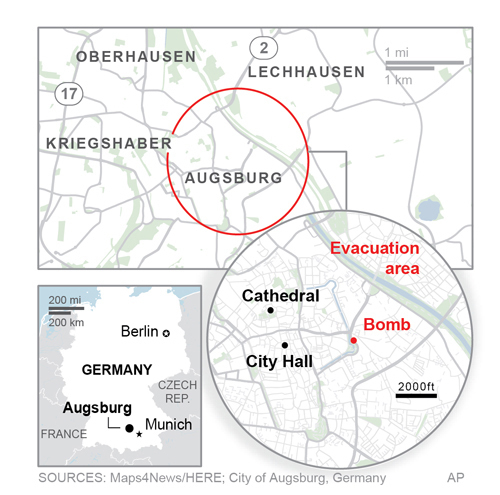WW2 bomb forces mass evacuation in Augsburg, Germany.