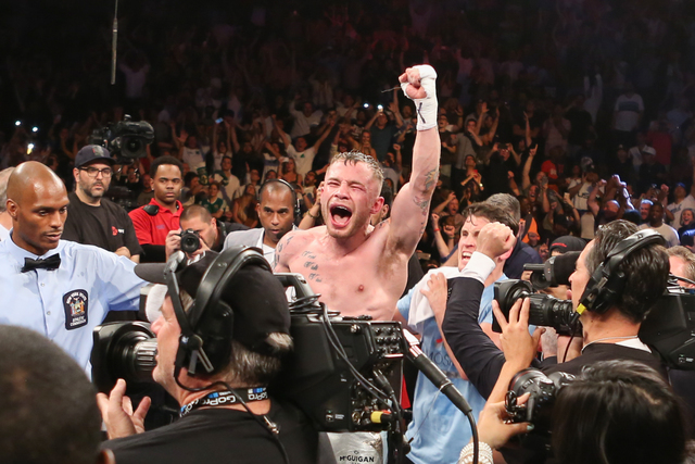 Carl Frampton reacts after hearing he won the WBA Super World Featherweight Championship fight against Leo Santa Cruz at the Barclays Center in the Brooklyn borough of New York on Saturday, July 3 ...