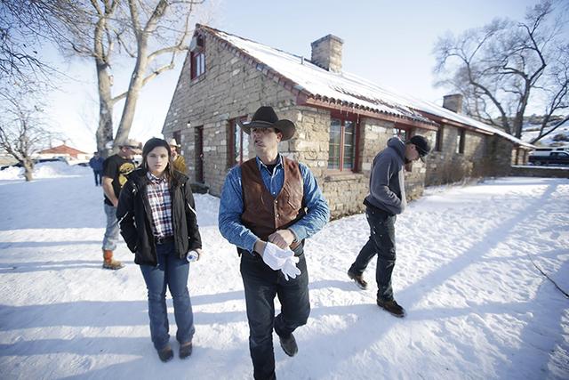 Ryan Bundy, one of the sons of Nevada rancher Cliven Bundy, walks through the Malheur National Wildlife Refuge in January near Burns, Oregon. (Rick Bowmer/AP)