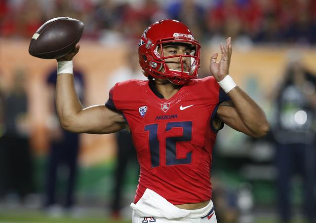 Arizona quarterback Anu Solomon throws during the first half against BYU, Saturday, Sept. 3, 2016, in Phoenix. (Rick Scuteri/The Associated Press)
