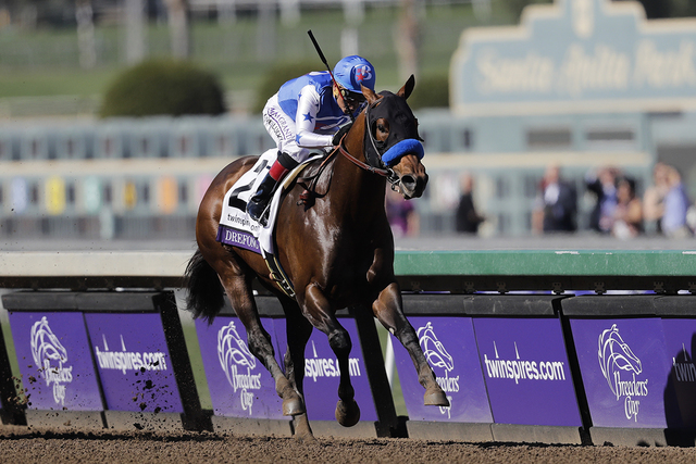 Drefong ridden by Martin Garcia charges to the finish line to win the Breeders' Cup Sprint horse race at Santa Anita Park, Saturday, Nov. 5, 2016, in Arcadia, Calif. (Jae C. Hong/AP)