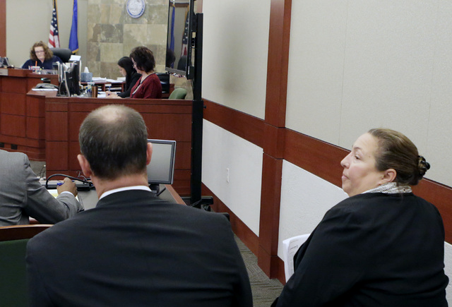 Attorney Jasen Cassady, left, and Assistant State Bar Counsel, Janeen Isaacson, at the Regional Justice Center on Wednesday, Dec. 14, 2016, in Las Vegas. The Nevada Supreme Court has temporarily s ...