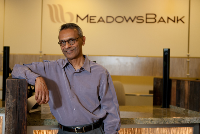 President and CEO of Meadows Bank, Arvind Menon, poses for a picture at the banks location at 8912 Spanish Ridge Ave, Las Vegas, NV on Friday, July 13, 2012. The bank has received approval to open ...