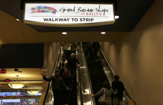 The Grand Bazaar Shops sign is seen inside Bally's hotel-casino in Las Vegas Monday, Nov. 28, 2016. Bizuayehu Tesfaye/Las Vegas Review-Journal Follow @bizutesfaye