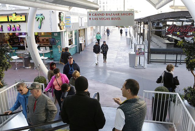 Shoppers are seen at the Grand Bazaar Shops in Las Vegas Monday, Nov. 28, 2016. Bizuayehu Tesfaye/Las Vegas Review-Journal Follow @bizutesfaye
