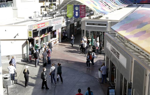 Shoppers walk at the Grand Bazaar Shops in Las Vegas Monday, Nov. 28, 2016. Bizuayehu Tesfaye/Las Vegas Review-Journal Follow @bizutesfaye
