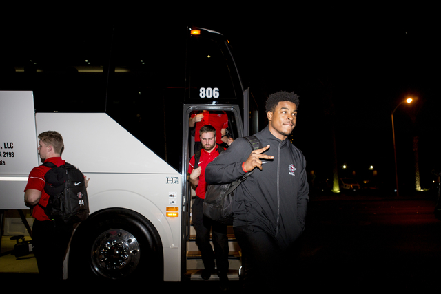 The San Diego State football team arrive to the Hard Rock Hotel and Casino for the Las Vegas Bowl, Tuesday, Dec. 13, 2016, Las Vegas. (Elizabeth Page Brumley/Las Vegas Review-Journal) @EliPagePhoto.
